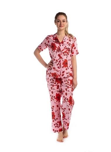 Pamuk & Pamuk Kadın Keten Somon Düğmeli Pijama Takımı Renkli